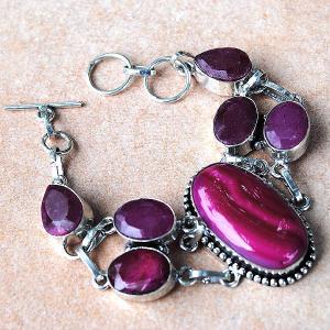 Rub 401d bracelet rubis agate rose achat vente bijou argent 925