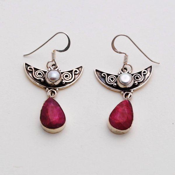 Rub 410a boucles oreilles pendant rubis perle argent 925 achat vente bijoux
