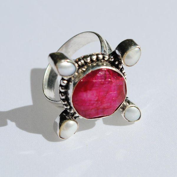 Rub 411a bague medievale t59 rubis perle argent 925 achat vente bijoux