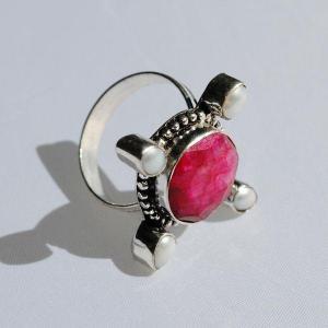 Rub 411b bague medievale t59 rubis perle argent 925 achat vente bijoux