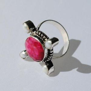 Rub 411c bague medievale t59 rubis perle argent 925 achat vente bijoux