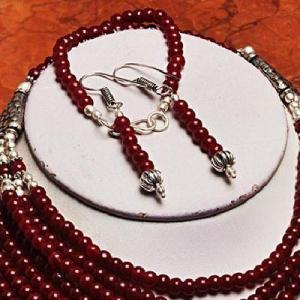 Rub 419c parure collier boucles bracelet rubis cachemire bijou achat vente