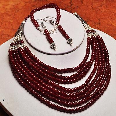 Rub 419d parure collier boucles bracelet rubis cachemire bijou achat vente