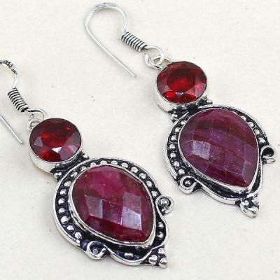 Rub 440c boucles pendants oreilles rubis cachemire grenat achat vente bijoux argent ethniques