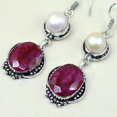 Rub 453b boucles pendants oreilles rubis cachemire perles achat vente bijoux argent ethniques
