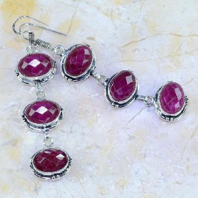 Rub 464a boucles pendants oreilles rubis cachemire achat vente bijoux argent ethniques