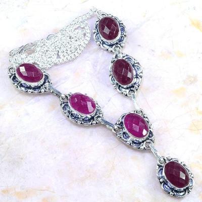 Rub 474a collier parure sautoir rubis cachemire achat vente bijoux argent ethniques