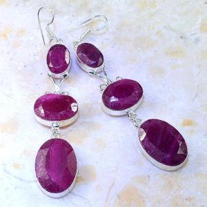 Rub 477a boucles pendants oreilles rubis cachemire achat vente bijoux argent ethniques 1