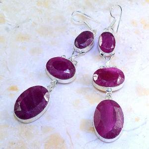 Rub 477b boucles pendants oreilles rubis cachemire achat vente bijoux argent ethniques 1