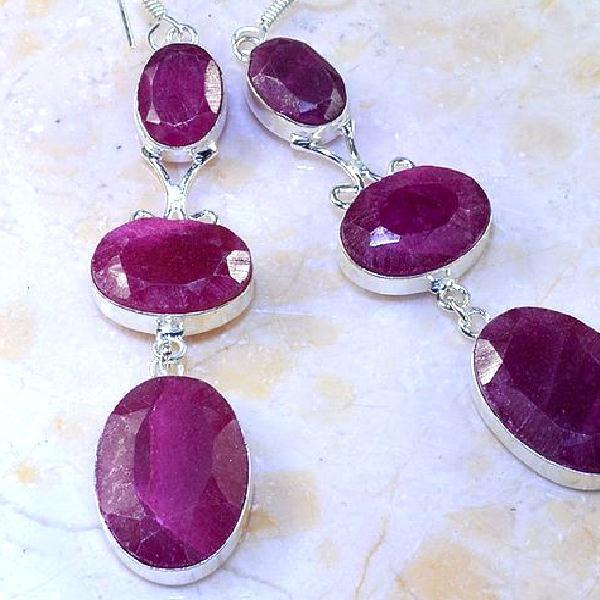 Rub 477c boucles pendants oreilles rubis cachemire achat vente bijoux argent ethniques