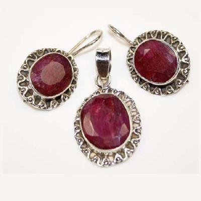 Rub 479a pendentif boucles oreilles rubis emeraude achat vente bijou argent
