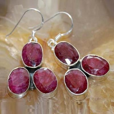 Rub 480a boucles pendants oreilles rubis cachemire achat vente bijoux argent ethniques