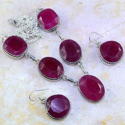 Rub 484a parure collier boucles rubis argent 925 achat vente bijoux