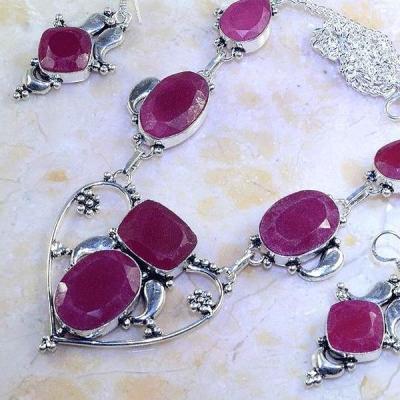 Rub 486b parure collier boucles rubis argent 925 achat vente bijoux