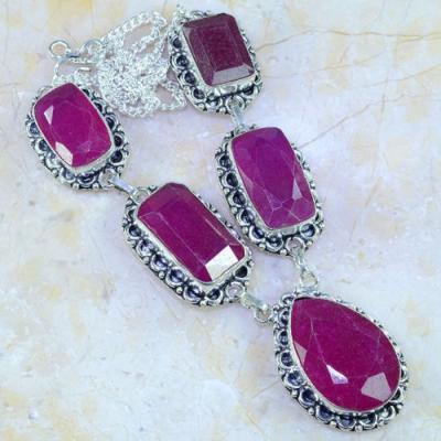Rub 490a collier parure sautoir rubis cachemire achat vente bijoux argent ethniques