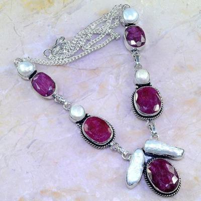Rub 507a collier parure sautoir rubis perle nacre argent 925 achat vente bijoux 1900