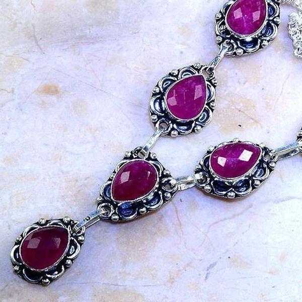 Rub 510c collier parure sautoir rubis medieval argent 925 achat vente bijoux 1900