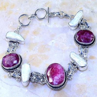 Rub 516a bracelet rubis cachemire perle nacre argent 925 achat vente bijou