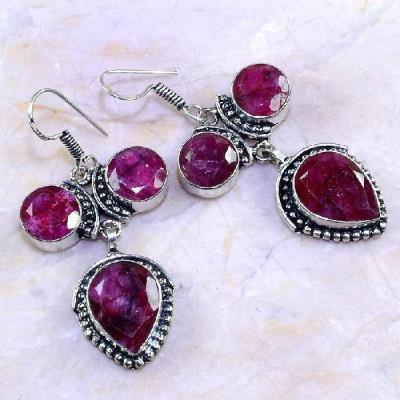 Rub 522a boucles pendants oreilles rubis medieval argent 925 achat vente bijoux 1900