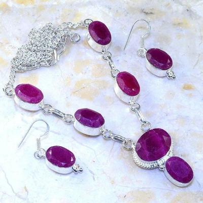 Rub 525a collier parure boucles rubis medieval argent 925 achat vente bijoux 1900