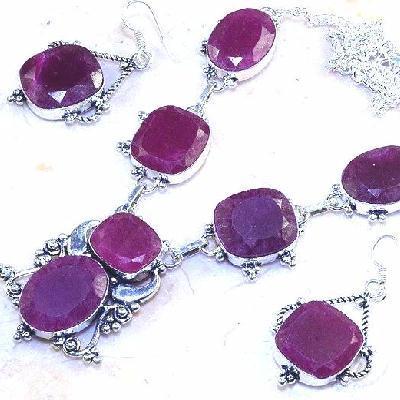 Rub 549b parure collier boucles oreilles rubis cachemire achat vente bijoux ethniques