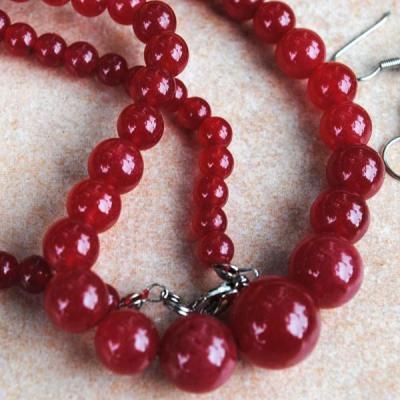 Rub 610c collier parure sautoir 6x14 mm rubis cachemire achat vente bijoux ethniques