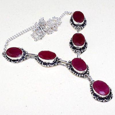 Rub 616a collier parure sautoir rubis ethnique argent 925 achat vente bijoux 1900