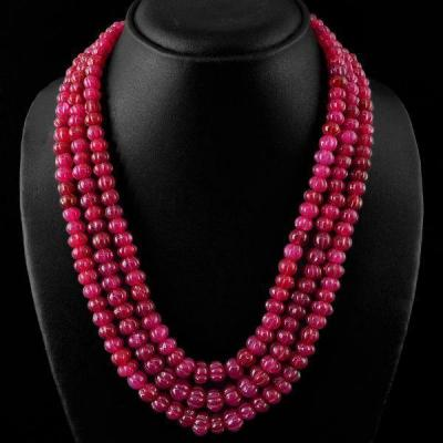 Rub 617a collier 3rangs parure sautoir 10x9 mm rubis cachemire achat vente bijoux ethniques 1 1