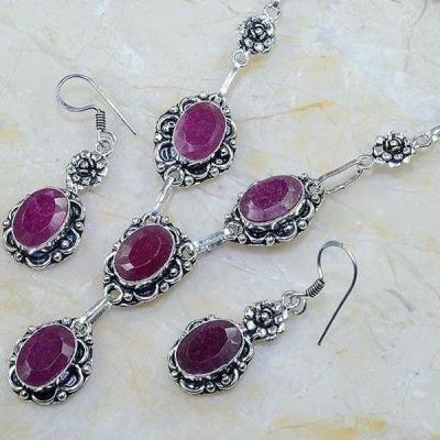 Rub 625b parure collier boucles oreilles sautoir rubis cachemire bijou ethnique achat vente