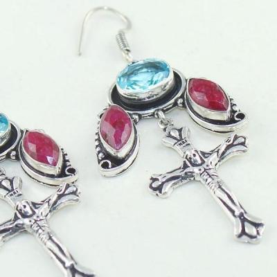 Rub 656c boucles oreilles croix crucifix rubis cachemire bijou ethnique achat vente
