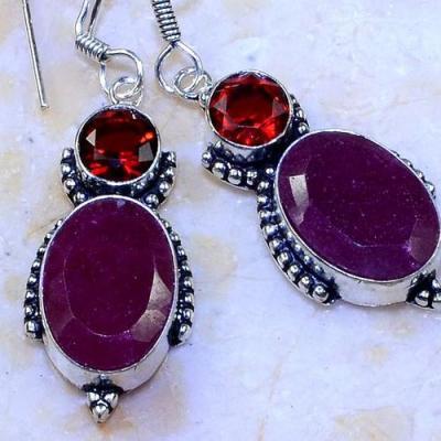 Rub 678c boucles pendants oreilles rubis 11x16mm cachemire bijou ethnique achat vente argent 925