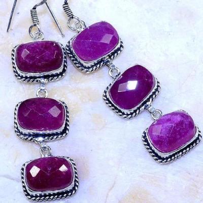 Rub 680c boucles pendants oreilles rubis 10x14mm cachemire bijou ethnique achat vente argent 925