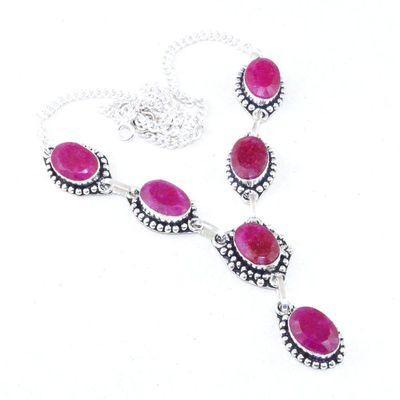 Rub 728a collier rubis cachemire 29gr argent 925