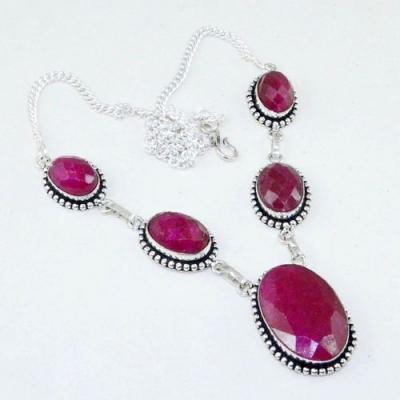 Rub 729a collier parure sautoir rubis cachemire 20x28mm reglable achat vente bijou argent 925