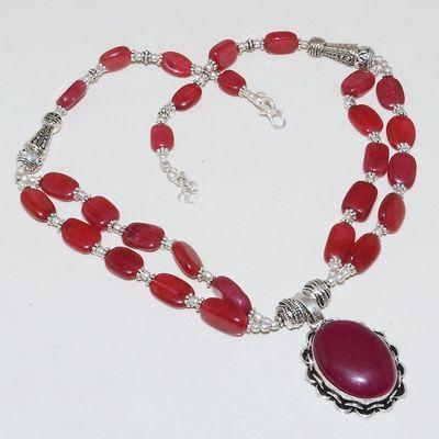 Rub 732a collier rubis cachemire 64gr argent 925