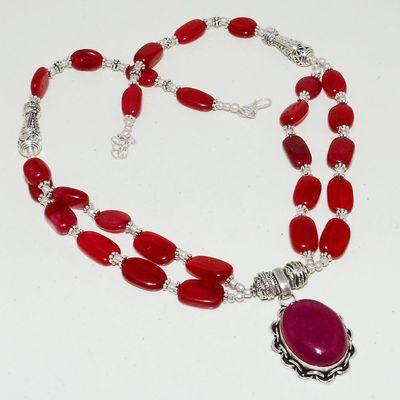 Rub 744a collier rubis cachemire 59gr argent 925