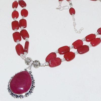 Rub 746b collier rubis cachemire 64gr argent 925