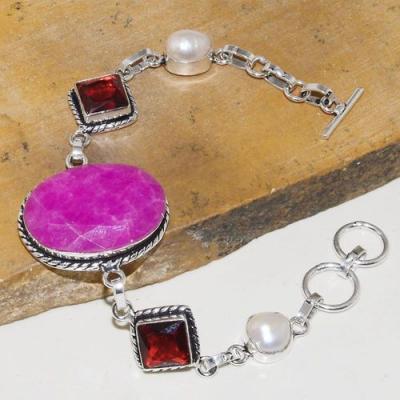 Rub 751a bracelet rubis cachemire grenat perle nacre achat vente bijou argent 925
