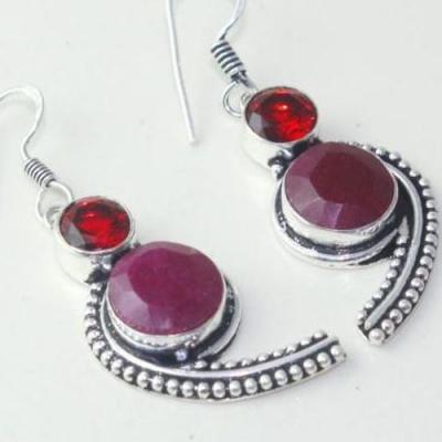 Rub 755c boucles pendants oreilles rubis grenat cachemire achat vente bijou argent 925