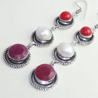 Rub 756c boucles pendants oreilles rubis perle corail cachemire achat vente bijou argent 925
