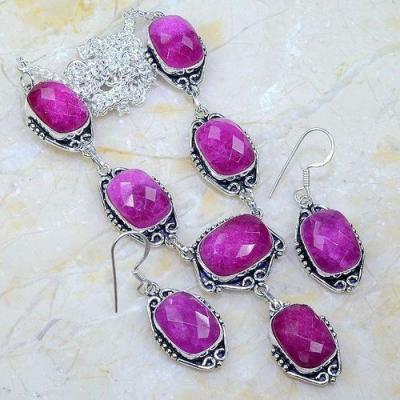 Rub 762a parure collier boucles oreilles rubis cachemire achat vente bijou argent 925