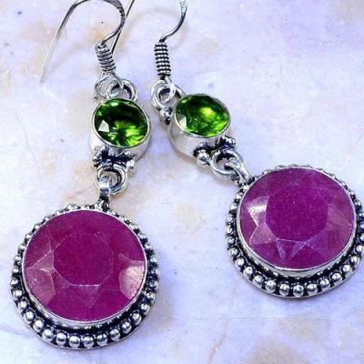 Rub 767c boucles pendants oreilles rubis cachemire achat vente bijou argent 925