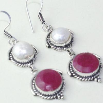 Rub 770c boucles pendants oreilles rubis cachemire perle achat vente bijou argent 925