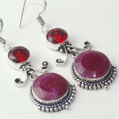 Rub 772c boucles pendants oreilles rubis cachemire grenat achat vente bijou argent 925