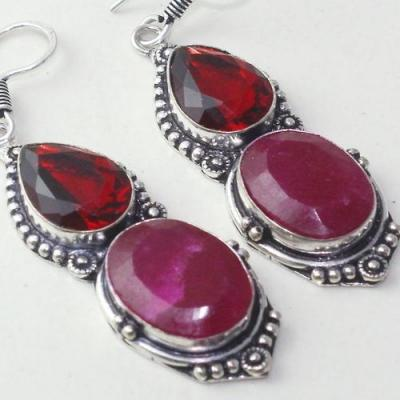 Rub 773c boucles pendants oreilles rubis cachemire grenat achat vente bijou argent 925