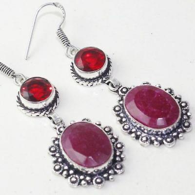 Rub 774c boucles pendants oreilles rubis cachemire grenat achat vente bijou argent 925