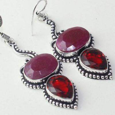 Rub 775c boucles pendants oreilles rubis cachemire grenat achat vente bijou argent 925