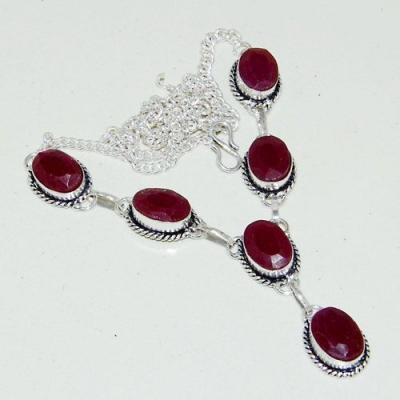 Rub 776a collier parure sautoir rubis cachemire grenat achat vente bijou argent 925