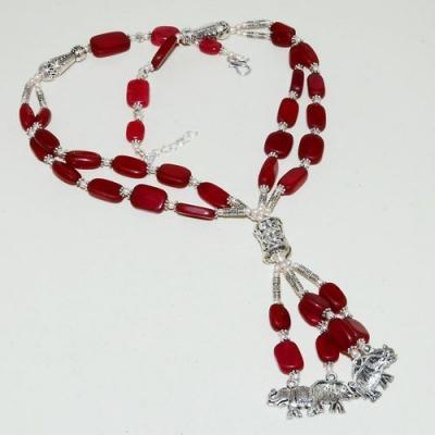 Rub 782a collier parure sautoir perles rubis elephant cachemire achat vente bijou argent 925