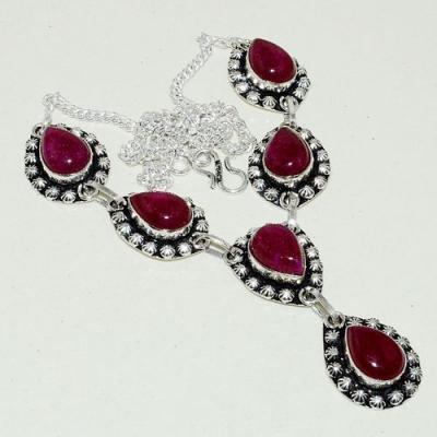 Rub 785a collier parure sautoir poires rubis cachemire achat vente bijou argent 925